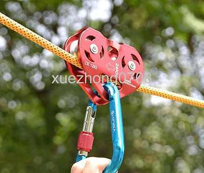 5600lbs GOLD OUTDOOR Zip Line Cable Trolley Rock Climbing Dual Pulley 25KN