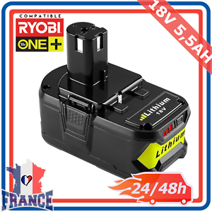 Batterie Compatible Ryobi One Plus 5.5ah 18v Rb18l25 Rb18l50 P108 P107 P104 P780