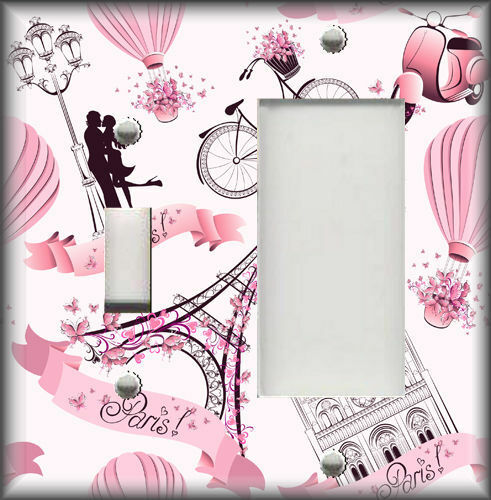 Metal Light Switch Plate Cover Pink Pairs Bicycle Love France Home Decor