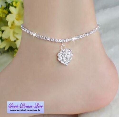 chaine de cheville luxe strass Diams  bracelet pied  taille Coeur Starss  A49