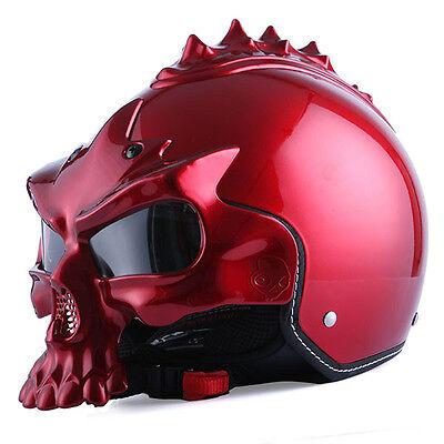 1STorm DOT Motorcycle Bike Sun Dual Visor Open Face Helmet 3D Skull Glossy Red