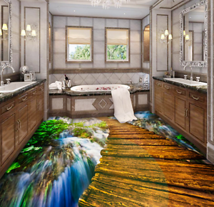 3D Papel de Parojo de suelo Cascada Puente 751 Murales Parojo impresión AJ Wallpaper Reino Unido Limón