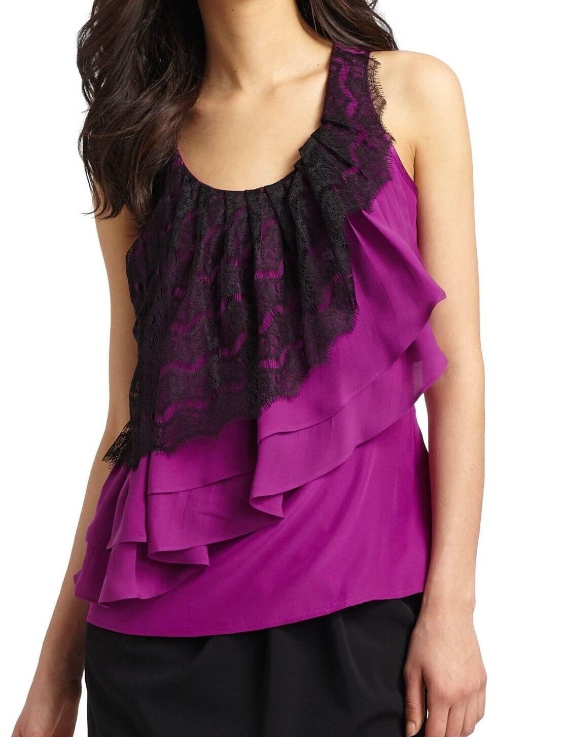 Cynthia Steffe MEMPHIS Silk Lace Ruffle Dress Top Blouse lila 6 Nwt