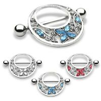 Flower And Butterfly Nipple Shield Ring.