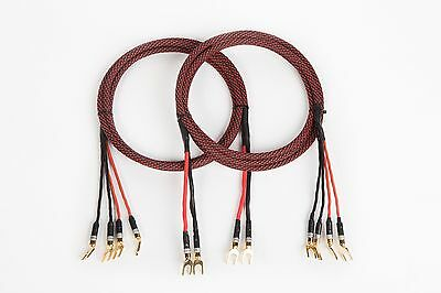 Elite Pure Copper Braided BiWire Speaker Cable 1Pair 6 Ft. 2 Spade to 4 Banana