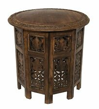 Cotton Craft Jaipur Solid Wood Hand Carved Accent Coffee Table - 18 Inch Roun...