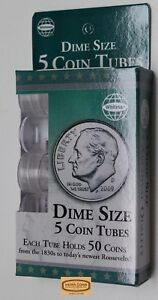 Dime-Size-5-Round-Plastic-Coin-Tubes-with-Screw-Lid-by-Whitman-28844