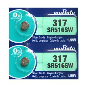 2-x-Murata-317-SR516SW-Silver-Oxide-0-Mercury-Watch-Batteries-Use-By-2022