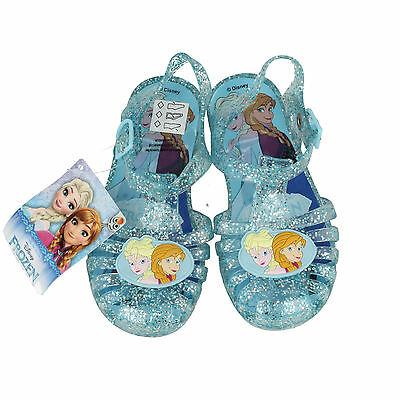 Chicas Disney Frozen Brillo Azul Lila Jalea Zapatos Sandalias De Verano De Playa Tamaño