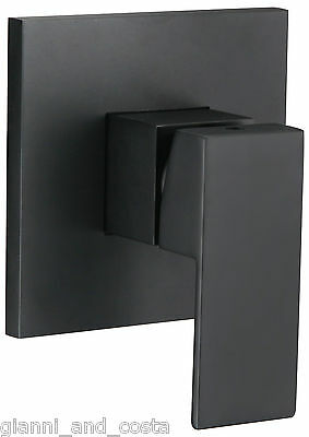 BATHROOM SHOWER BATH WALL MOUNTED MIXER TAP MATT BLACK SQUARE DESIGN WATERMARK