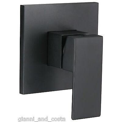 BATHROOM SHOWER BATH WALL MOUNTED MIXER TAP MATT BLACK SQUARE DESIGN WATERMARK