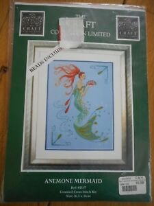Anemone Mermaid Cross Stitch Kit  by The Craft Collection - Frinton on sea, Essex, United Kingdom - Anemone Mermaid Cross Stitch Kit  by The Craft Collection - Frinton on sea, Essex, United Kingdom