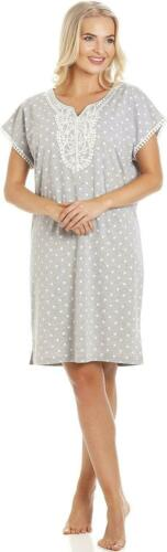 Camille Womens Polka Dot Short Sleeved Grey Nightdress