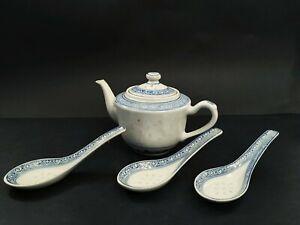 Chinese porcelain blue and white tea pot + 3 sauce bowls Vintage  20th century