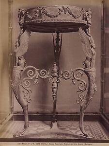 Museo Da Napoli Ercolano Italia 2 Foto Vintage Albume D'Uovo Ca 1880