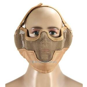 Half-Face-Metal-Mesh-Ears-Protective-Tactical-Airsoft-Military-Mask-Prot