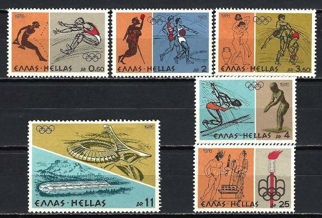 Grèce -Greece 1976 Jeux Olympiques Yvert n° 1218 à 1223 neuf ** 1er choix
