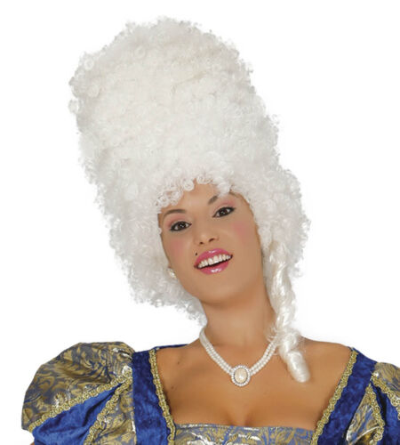 White Baroque Beehive Wig Halloween Fancy Dress Ladies Accessory Pantomime Epoch