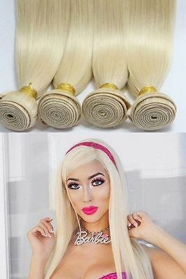 1/3 Bundles Blonde Straight 100% Brazilian Human Hair Weft Extension Weave