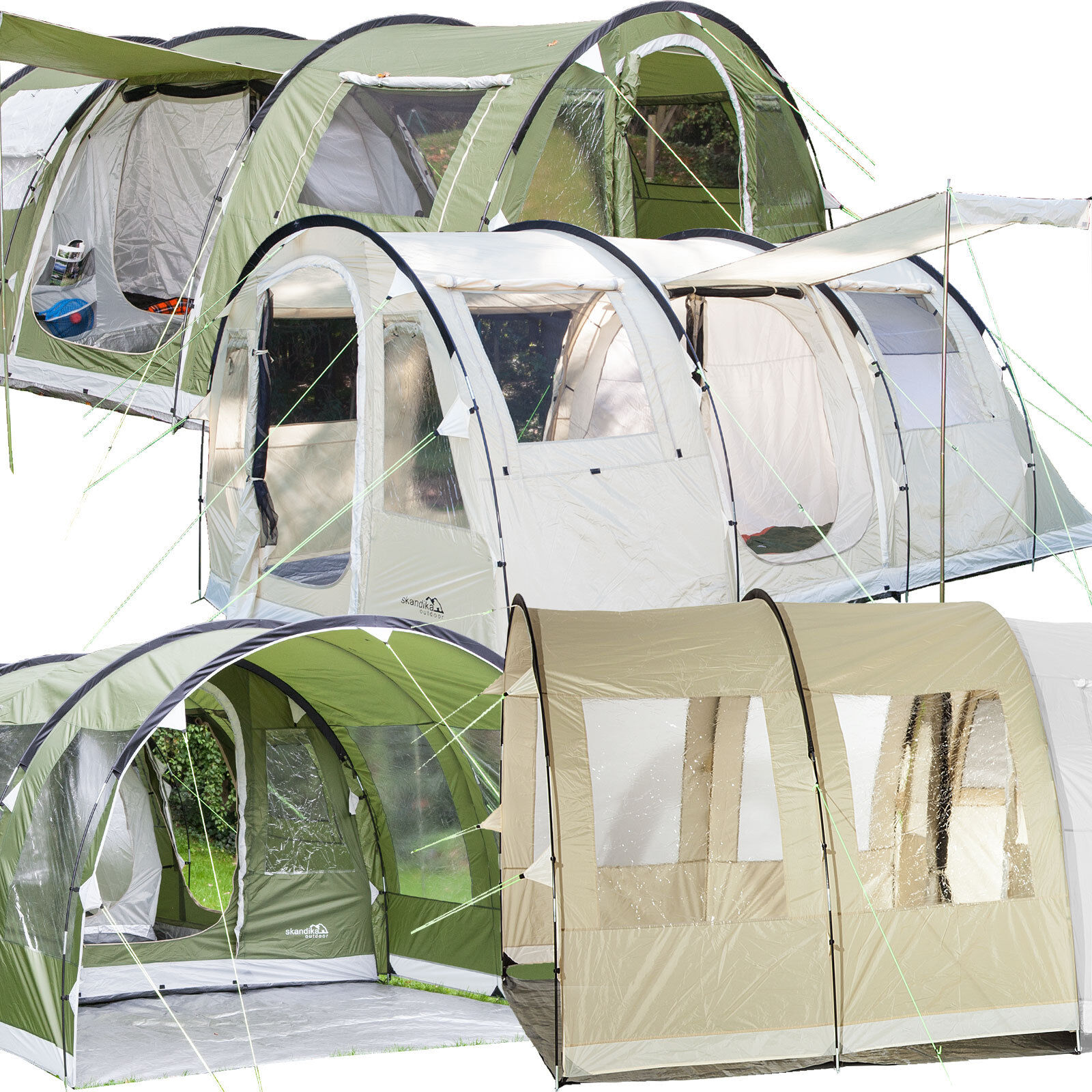Skandika Gotland Tunnel Tents 4-6 Person Canopy verde & Sand Sewn-in Floor New