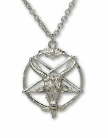 Sterling Silver Baphomet Goat Head Satanic Pendant Necklace Ssnkchain-546