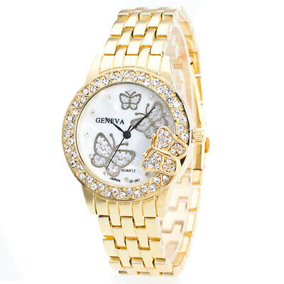 Geneva Women's Butterfly Stainless Steel Quartz Crystal Rhinestone Wrist Watch