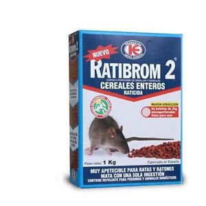 Raticida en cereales enteros. Veneno contra ratas y ratones - RATIBROM 2 1Kg