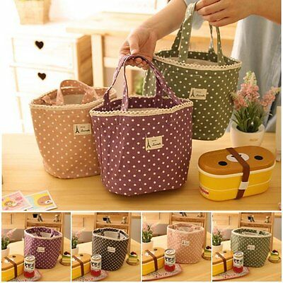 Cute Thermal Insulated Lace Dot Lunch Box Tote Bag Picnic Storage Pouch Handbag
