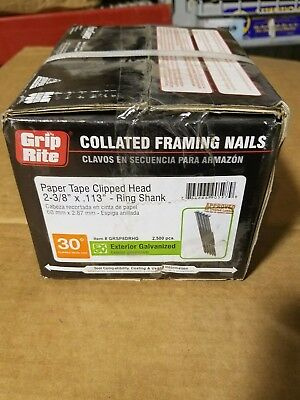2,500 per Box Grip-Rite GRSP8DRHG Clipped Head 2-3//8-inch by .113-inch by 30 Degree Paper Collated Ring Shank Hot-Dip Galvanized Framing Nail