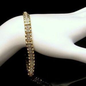 Two-Tone-Granulated-Beaded-Links-Statement-Bracelet-Vintage-Sleek-Classy-Unique