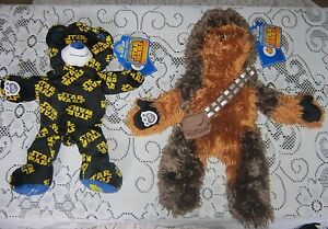 LOT-2-NWT-Build-A-Bear-Star-Wars-Chewbacca-Chewie-Plush-Stuffed-Animal-Logo-Bear