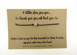 A-Little-Star-To-Thank-You-Message-Card-Tie-Wish-Bracelet-Teacher-Gift