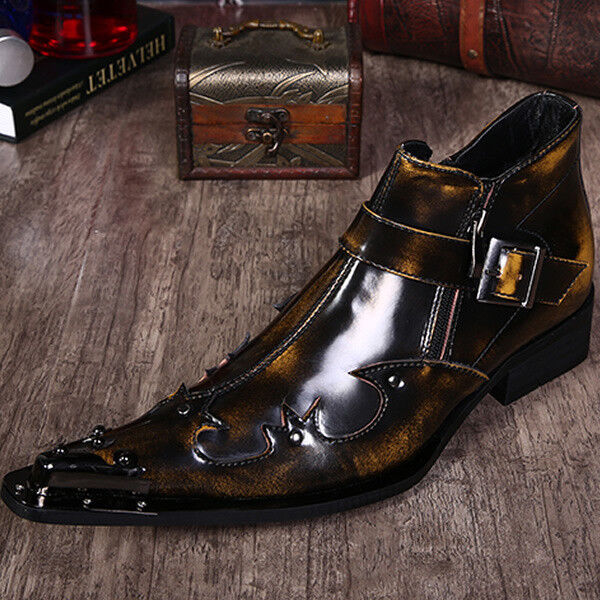 New Men's real leather Ankle boots Punk Rock Pointed Metal Toe Side Zip L06