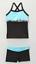 Elliewear Girls black and blue Trim Short Top 2 Pc Dance Set