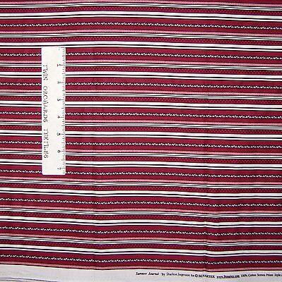 Calico Fabric Benartex YARD Summer Journey Dark Red Stripe