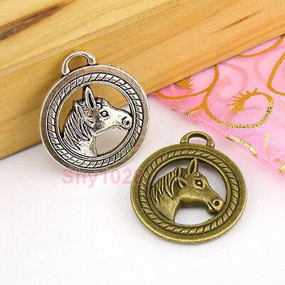 3Pcs Tibetan Silver,Antiqued Bronze Horse Charms Pendants 25x28mm M1590