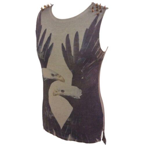 Ladies Womens Rock T-Shirt Vest Top Eagle Print Sleeveless Stud Detail Size 6 10
