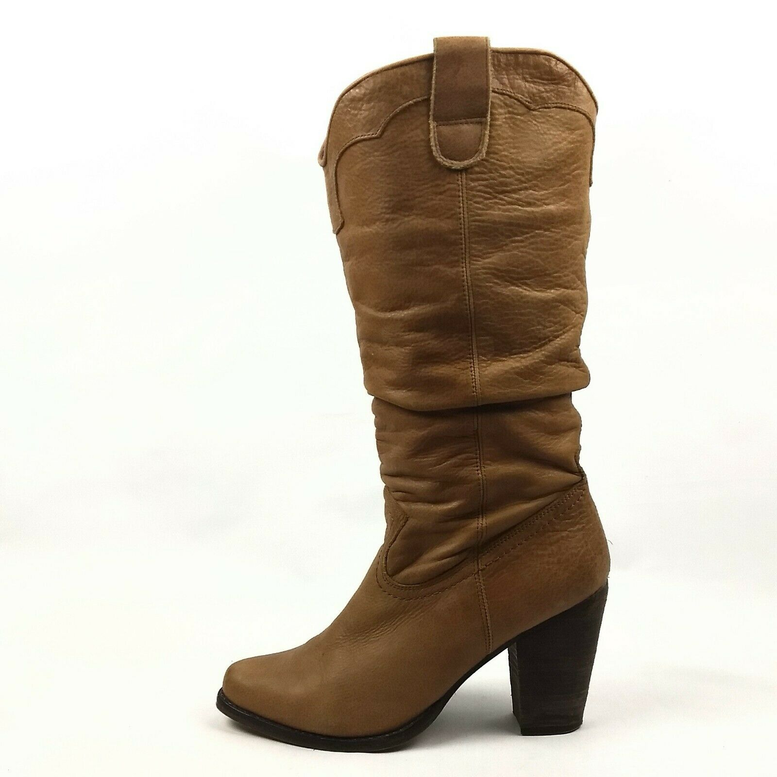 Steve Madden Gesar Slouch Boots Womens Size 8.5 Cognac Tan Leather High Heel Z24