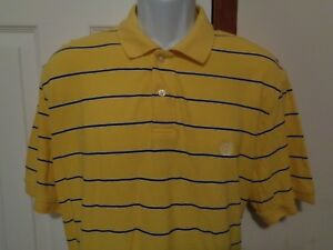 CHAPS-Polo-Shirt-Men-039-s-Size-XL-Yellow-with-Blue-Stripes-Cotton-Made-in-India