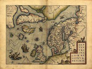 Large A1 Size Abraham Ortelius Bohemia Czech Republic Prague Old Antique Map New