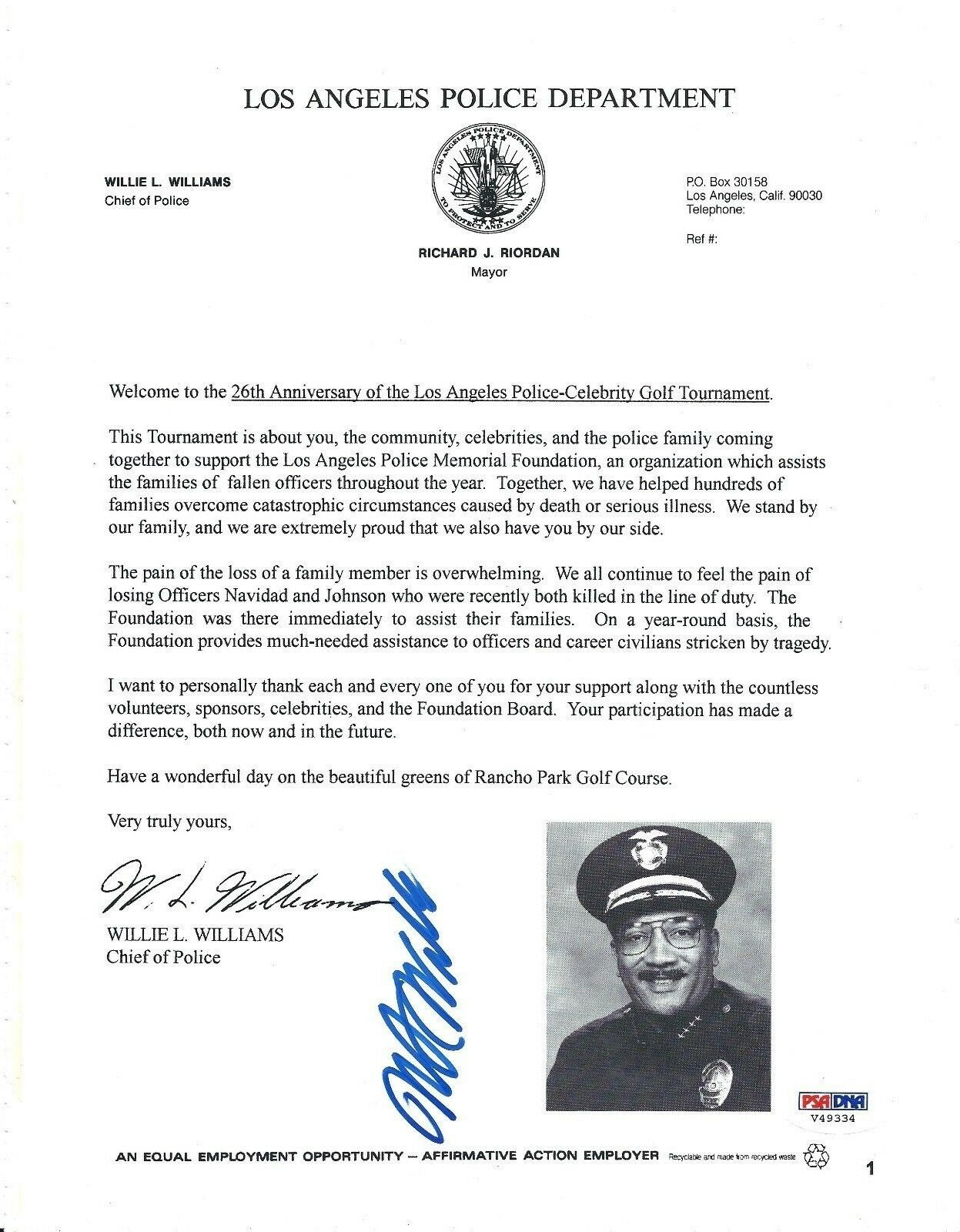 Willie Williams Signed LA Police-Celebrity Golf Tournament Fact Sheet PSA