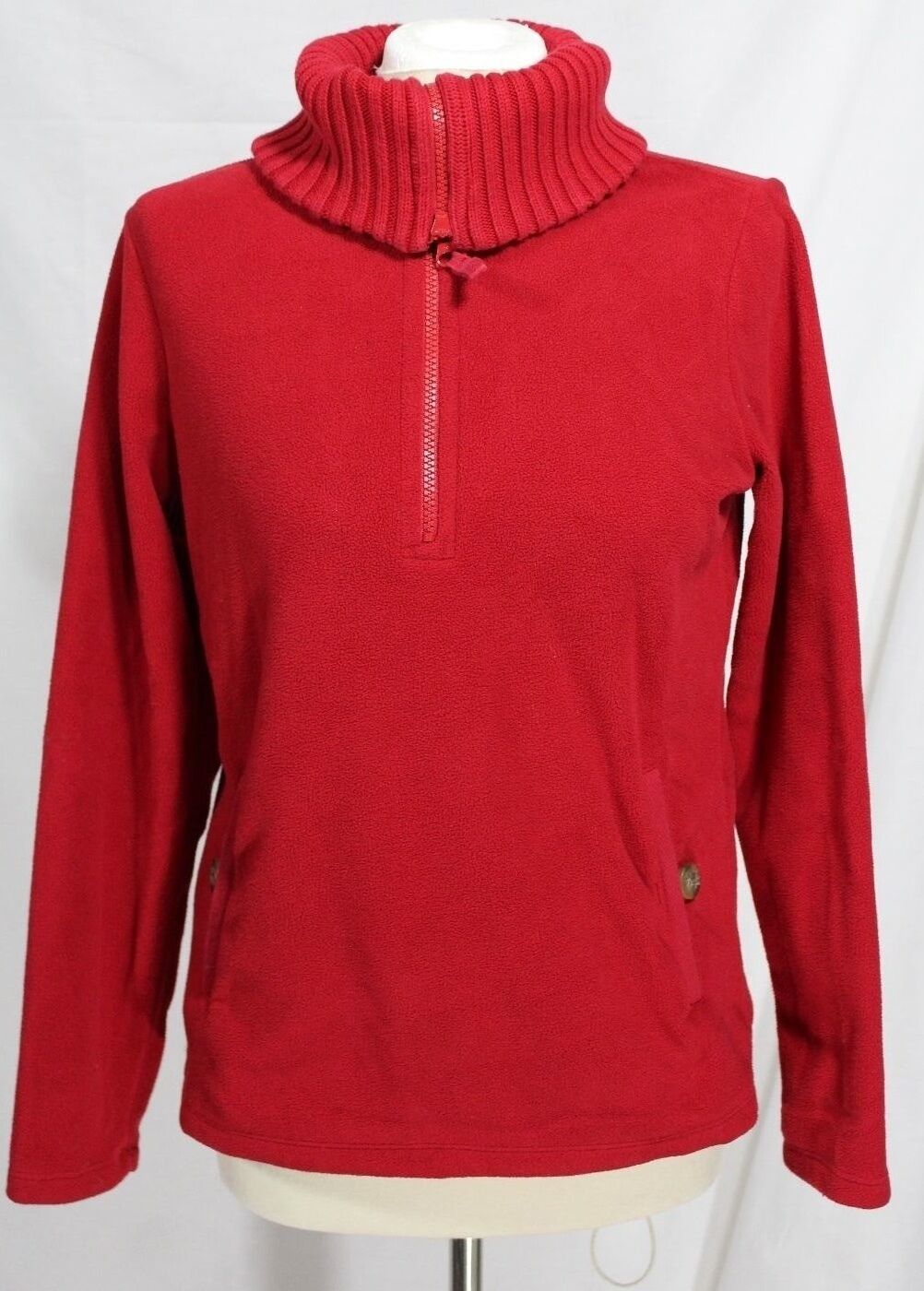 Lands End - Donna XS 2/4 - Solid rosso Knit Collar Soft Pull-Over Fleece Sweater
