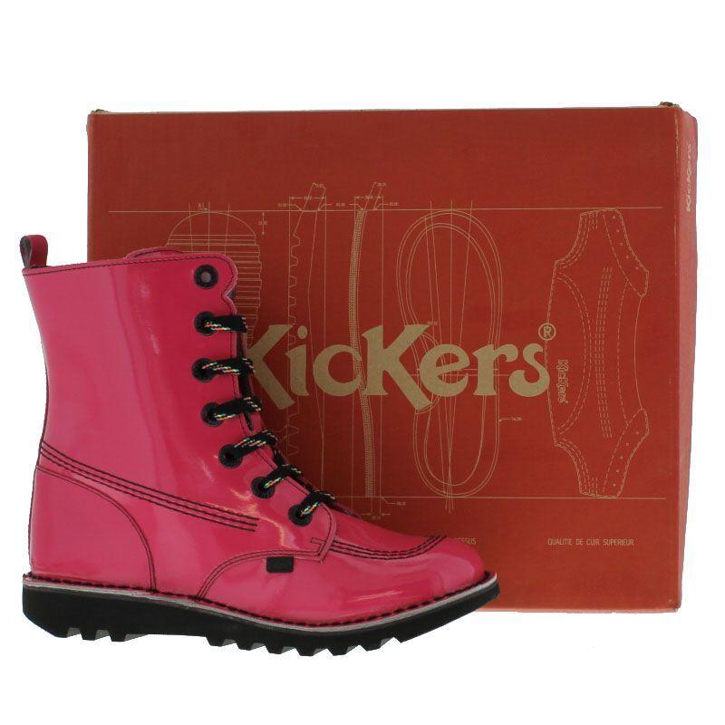 Kickers Kicksohi UK 6/39 Kick So High PINK Patent Leder Stiefel FRUITS KAWAII