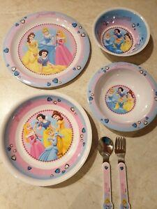 Disney-Princess-Kinder-Melamin-Geschirr-Set-4-tlg-Besteck-2-tlg