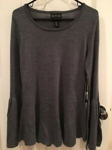 84d2960f22e Details about Women s NWT Nanette Lepore LARGE 100% Merino Wool Bell Sleeve  Sweater
