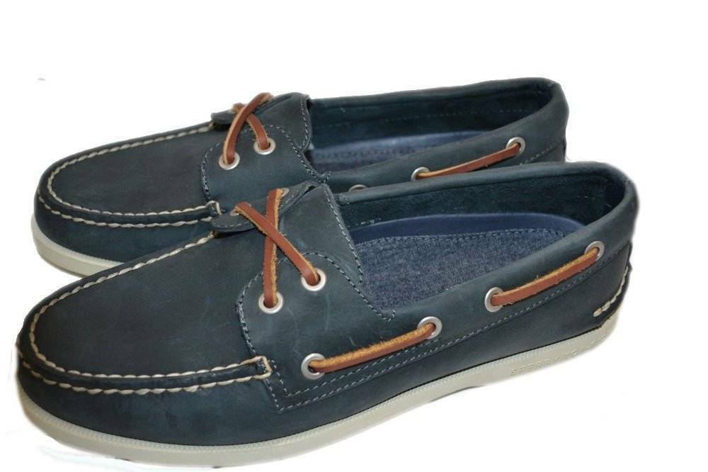 New New New Women's Sperry for J. Crew Navy Broken-In 2-Eye Leather Boat shoes 6 M 67a419
