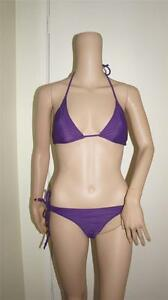 Women Beautiful Sexy Bikini Purple Halter Neck Top With Twin Tie Bottoms