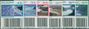 New Zealand 1992 SG1675-1680 Glaciers with barcode set MNH