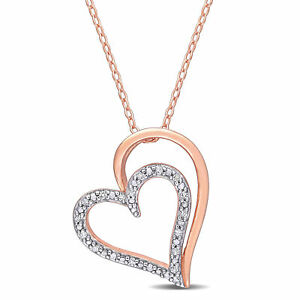 Amour Rose Plated Sterling Silver Diamond Heart Necklace