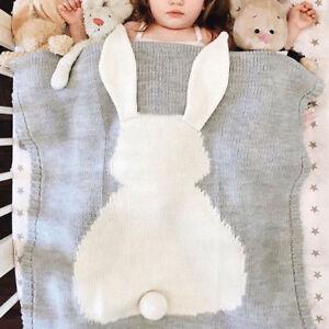 Portable-Soft-Rabbit-Ears-Blanket-Baby-Cotton-Pattern-Children-039-s-Cotton-Bunny